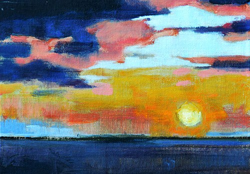 """Sunset on the Pacific"" original fine art by Kevin Inman"
