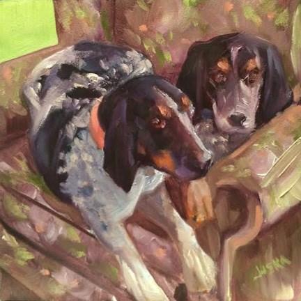 """""""Lucy & Ricky - Coon Hounds"""" original fine art by Elaine Juska Joseph"""