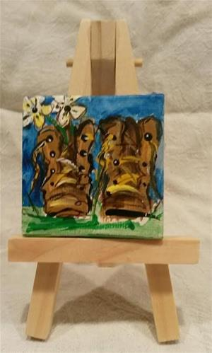 """Itty Bitty Workboots"" original fine art by Terri Einer"