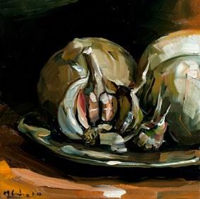 Onions and Garlic original fine art by Edward B. Gordon