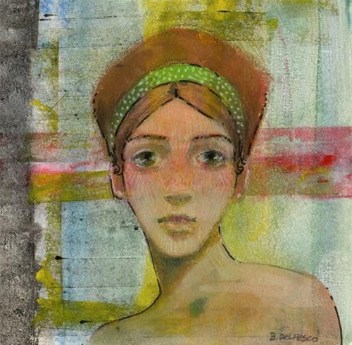 """Mixed Media: Ginger Hair (gelli plate #printmaking)"" original fine art by Belinda Del Pesco"