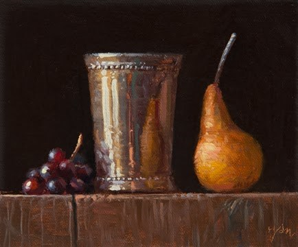 """Ending Soon: Silver Cup w/ Pear & Red Grapes (+ The Full Length Video)"" original fine art by Abbey Ryan"
