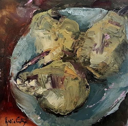 """Palette knife pears"" original fine art by Rentia Coetzee"