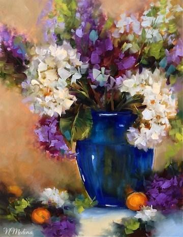 """Follow the Light White Hydrangeas ~ Class Demo by Texas Flower Artist Nancy Medina"" original fine art by Nancy Medina"