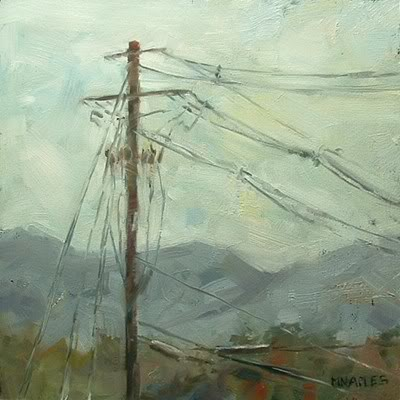 """Utility Pole with Mountains"" original fine art by Michael Naples"