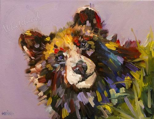 """ARTOUTWEST Diane Whitehead Cutest Black Bear art oil Painting"" original fine art by Diane Whitehead"