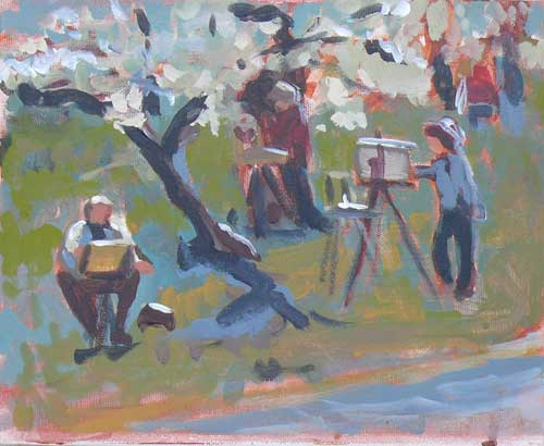 """Artists in the Orchard"" original fine art by Darlene Young"