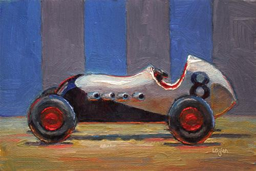 """Toy Roadsters / White & Red"" original fine art by Raymond Logan"