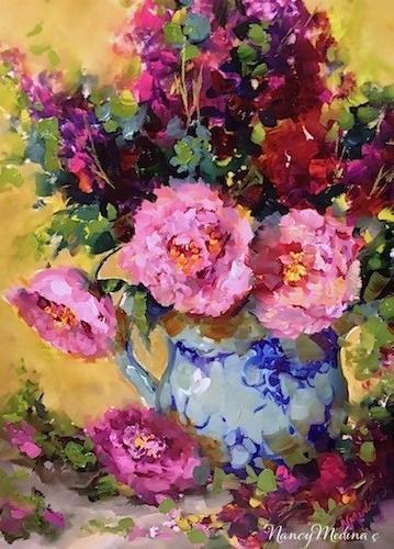 """Peonies Out of Season by Floral Artist Nancy Medina"" original fine art by Nancy Medina"