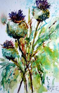"""Thistles – Disteln"" original fine art by Christa Friedl"