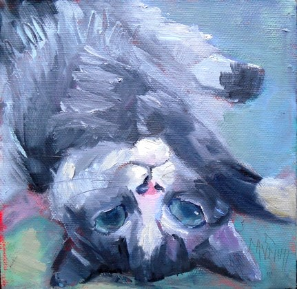 """Cat Painting, Daily Painting, Small Oil Painting, Bugsy , 6x6 Animal Art  SOLD"" original fine art by Carol Schiff"