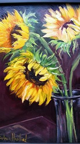 """Sunflowers Three in Vase"" original fine art by Barbara Haviland"