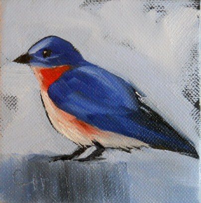 """Mr. Bluebird"" original fine art by Claire Henning"