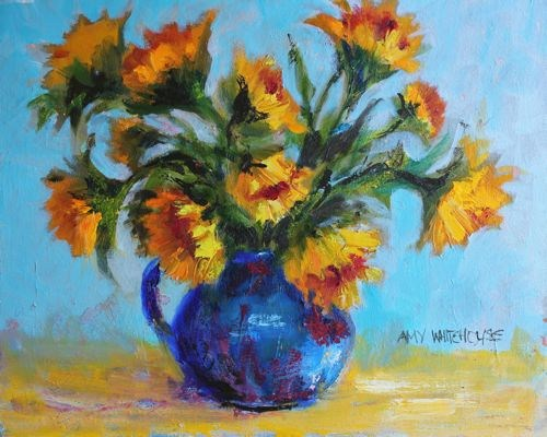 """""""Blue Pitcher with Sunflowers Contemporary Still Life by Arizona Artist Amy Whitehouse"""" original fine art by Amy Whitehouse"""