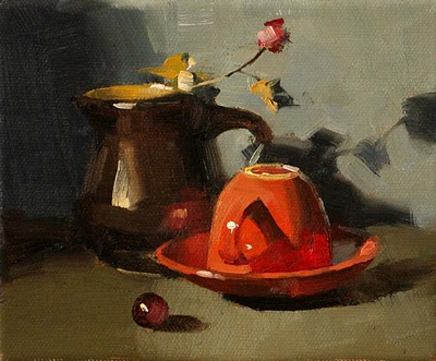 """Waiting for Coffee --- Sold"" original fine art by Qiang Huang"