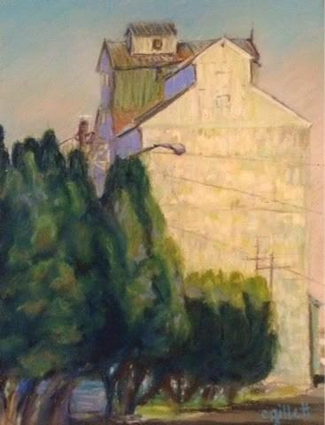 """""""Odessa Grain Elevator"""" original fine art by Cindy Gillett"""