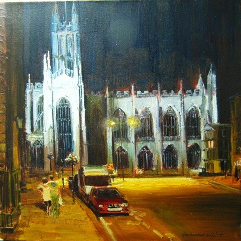 """Bath Abbey, Nocturne"" original fine art by Adebanji Alade"
