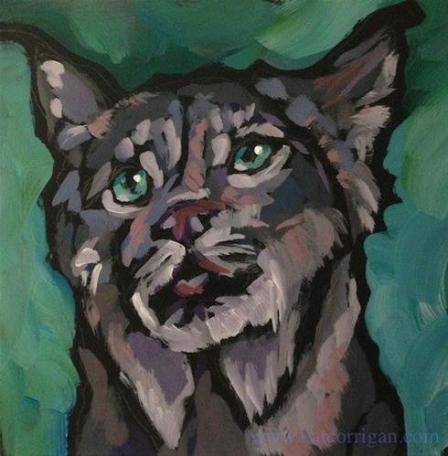 """Mama Lynx Looks Up"" original fine art by Kat Corrigan"