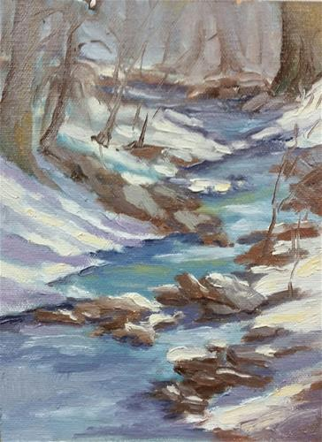 """Snow on the creek-en plein air"" original fine art by Veronica Brown"