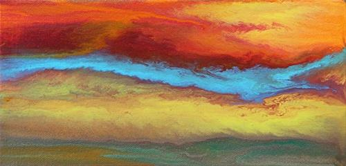 """Abstract Landscape,Sunset Art Painting Chasing Blue -Mini #1 by Colorado Contemporary Artist Kimbe"" original fine art by Kimberly Conrad"