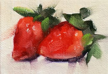 """Mini Strawberries"" original fine art by Cindy Haase"