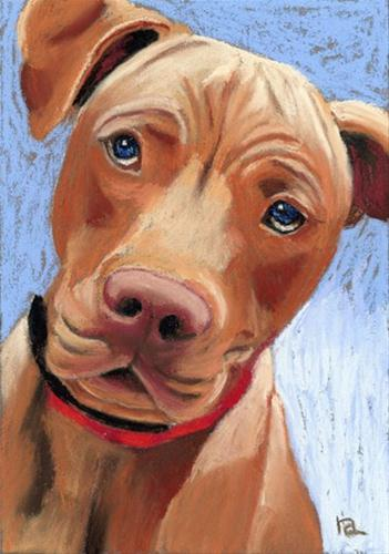"""Molly Rose dog portrait"" original fine art by Ria Hills"