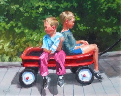 """Two Boys in a Wagon"" original fine art by Susan N Jarvis"