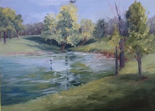"""Catfish Pond (fish stories!), 9 x 12 Oil, Landscape"" original fine art by Donna Pierce-Clark"