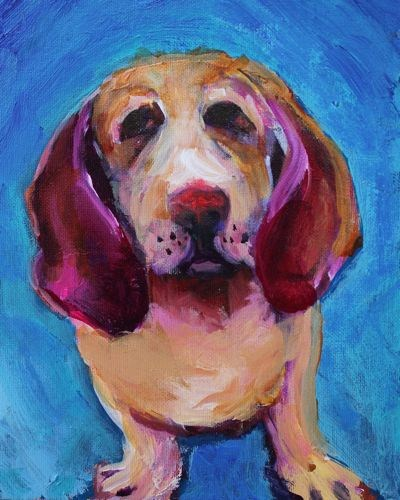 """Basset Pooch Contemporary Dog Portraits by Arizona Artist Amy Whitehouse"" original fine art by Amy Whitehouse"