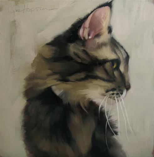 """High Jinks a cat painting by Diane Hoeptner"" original fine art by Diane Hoeptner"