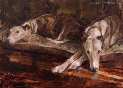 """Day 22 - Greyhounds"" original fine art by Kathleen Coy"