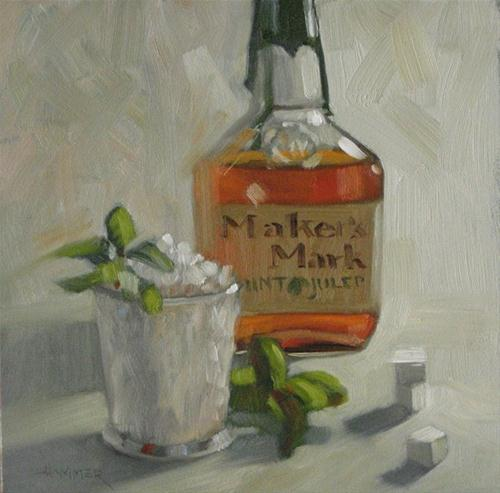 """Maker's Mint Julep 6x6 oil"" original fine art by Claudia Hammer"