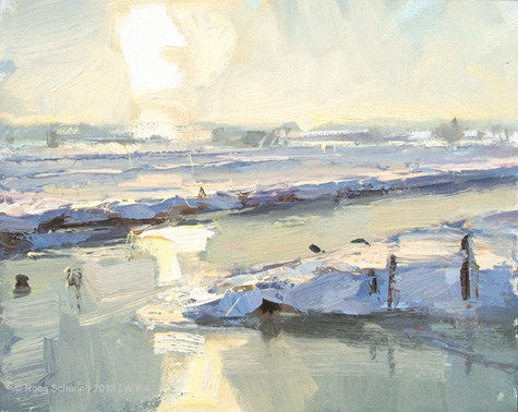 """Landscape winter 4 Sun reflected in ice and snow (available)"" original fine art by Roos Schuring"