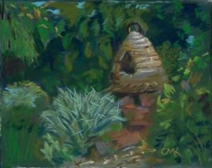 """Bees in the Herb Garden"" original fine art by Catherine Kauffman"