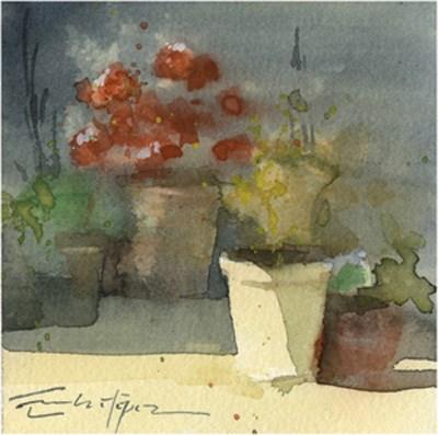 """patio 99"" original fine art by Emilio López"