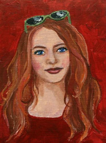 """Red"" original fine art by Jean Nelson"