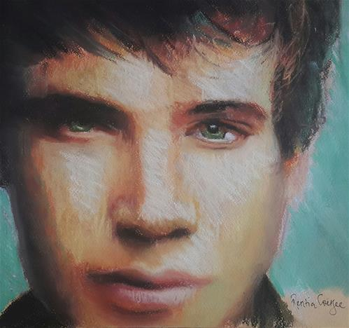 """Male portrait"" original fine art by Rentia Coetzee"