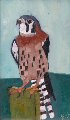 """Kestrel on Wooden Block"" original fine art by Elizabeth See"