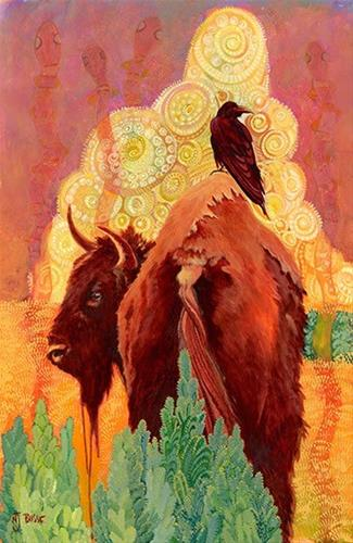 """Contemporary, Whimsical Wildlife, Bison Art Painting How The Bison Got His Hump by Nancee Jean Bus"" original fine art by Nancee Busse"