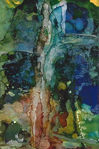 """Original Contemporary Abstract Mixed Media, Alcohol Ink Painting OLD GROWTH by Contemporary New Or"" original fine art by Lou Jordan"
