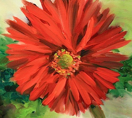 """Red Star Daisy by Texas Artist Nancy Medina"" original fine art by Nancy Medina"