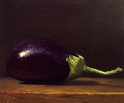 """Homegrown Eggplant No. 2"" original fine art by Abbey Ryan"