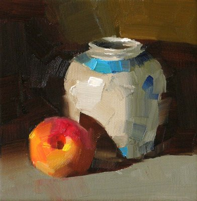 """A Peach --- Sold"" original fine art by Qiang Huang"