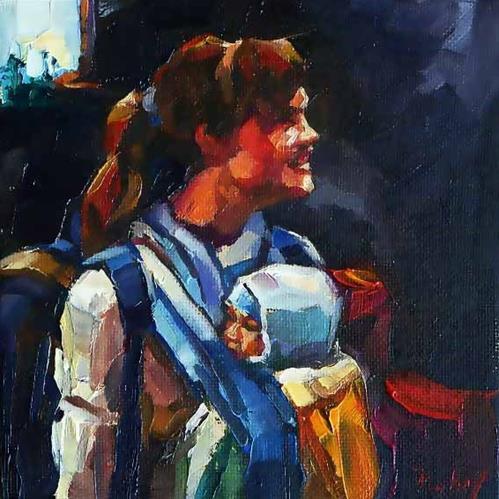 """happy mother"" original fine art by Jurij Frey"