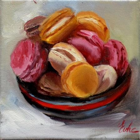 """""""Méli mélo de macarons"""" original fine art by Evelyne Heimburger Evhe"""