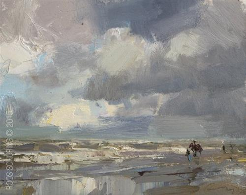 """Seascape Pleinair ""Bad Weather Luck"""" original fine art by Roos Schuring"