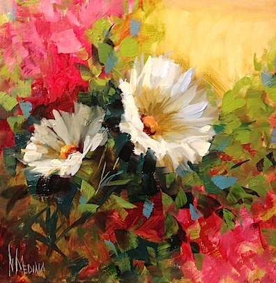 """Bougainvillea and Daisies by Nancy Medina"" original fine art by Nancy Medina"