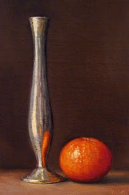 """Tangerine and Silver Vase"" original fine art by Abbey Ryan"