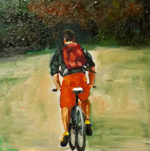 """A man riding a bicycle,A26"" original fine art by Run-      Zhang Zane"