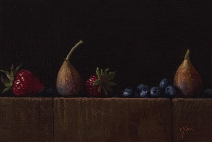 """Golden Series: Strawberries, Blueberries, and Two Figs"" original fine art by Abbey Ryan"